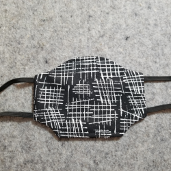 Black and White Cross Hatch Cotton Face Mask