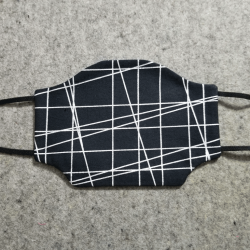 Black with Silver Lines Cotton Face Mask