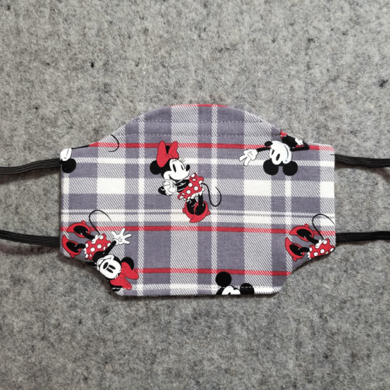 Mickey and Minnie Plaid Cotton Face Mask